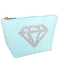 "Light Blue ""Medium Avery"" Cosmetic Bag with Silver Glitter Diamond - LoloBag"