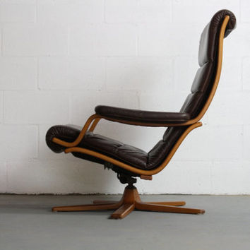 RARE Mid Century Modern Gote Mobel Mobler Stressless Leather Lounge Chair Recliner