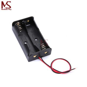 10PCS Plastic Battery Case Storage Box Holder with Wire Leads for 2 X AA 3.0V 2AA