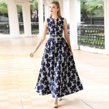new arrival high quality summer women dress Elegant floral Jacquard sleeveless Dress V-neck Vest Long maxi Dress Vestidos