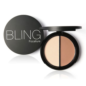 Focallure Bronzers and  Highlighters 2 Diff Color Concleaner Contour Silhouette Powder Brozer Palette for Face Make up