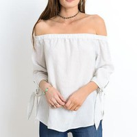 off the shoulder pinstripe top