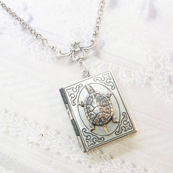 Silver Locket Necklace - The Silver Turtle BOOK LOCKET - Terrapin Turtle ORIGINAL Jewelry by BirdzNbeez - Wedding Birthday Bridesmaids Gift
