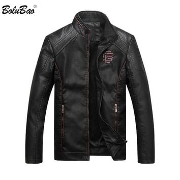 BOLUBAO New Men Leather Suede Jacket Fashion Motorcycle PU Leather Male Winter Jackets Outerwear Coats Faux Leather Coat