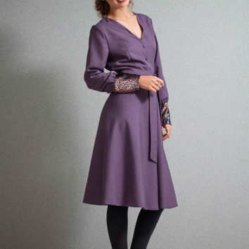 Midi Dress, Purple dress, buttoned down dress,velvet cuffs, V neck dress, preppy dress