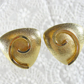 Vintage Statement Earrings, Geometric Triangles, Spirals, Chunky Gold Tone, Clip-ons, 1950s 1960s Mad Men, Modernist Modern Jewelry