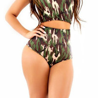 Camo Print High-Waisted Bikini