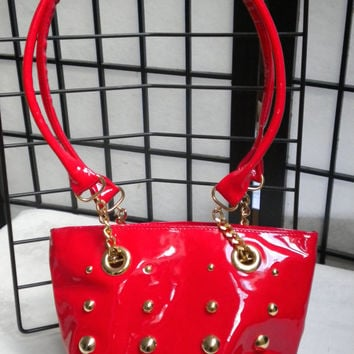 Vintage Red Handbag Italian Patent Leather purse.  1970s by Campomaggi.  Blingbling.