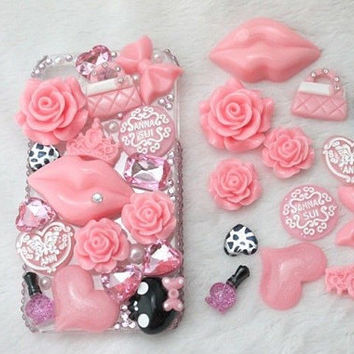 DIY Pink Tower Bling Flatback Resin Cabochons Kawaii Deco Kit  SET-Cell Phone, iPhone, Scrapbooking