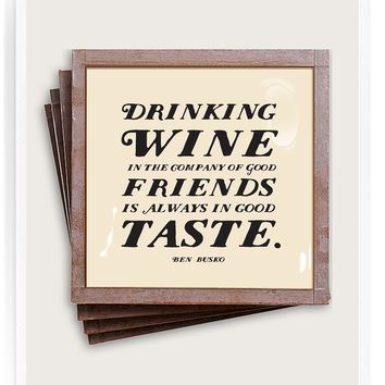 Drinking Wine In Good Company Copper & Glass Coasters, Set of 4