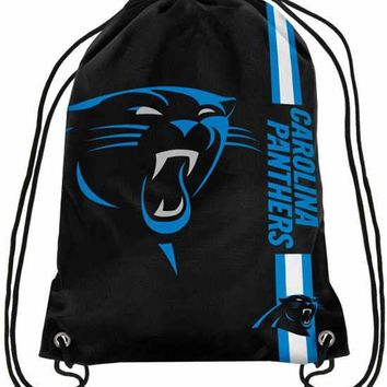 Carolina Panthers Hot Sale Polyester Fabric Men Drawstring Backpack Bags Digital Printing Pouch 35*45CM Sports Fan Flag