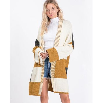 Long-Line Open-Front Mustard Color Block Cardigan