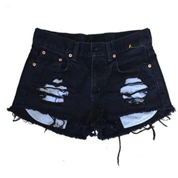 Women's High Waisted Black Denim Shredded Destroyed Wrangler Ripped Shorts