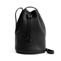 BAGGU Leather Drawstring Purse Black