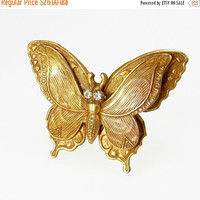 Vintage Gold Plated Brass Butterfly Brooch Rhinestone Eyes