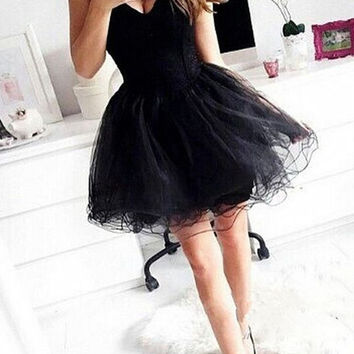 Elegant Sweetheart Little Black 2016 Tulle Homecoming Summer Cocktail Short Party Prom Dresses Dress