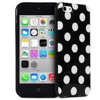Fosmon iPhone 5C Case [DURA-POLKA] Polka Dot Flexible TPU Cover (Black / White Dots)
