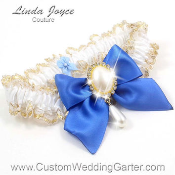 White and Royal Blue WEDDING GARTER Gold Bridal Lace Garter 112 White 350 Royal Blue Prom Garter Plus Size & Queen Size Available too