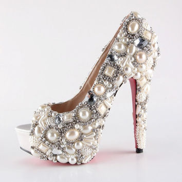 Handmade Super high heels crystal and pearl shoes ivory for wedding or party