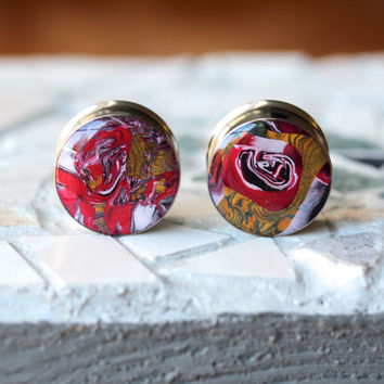 """7/8"""" Ear Plugs, Polymer Clay Plugs, Art Gauges, Resin Tunnels, Double Flare, Modified Ears - size 7/8"""" (22mm)"""
