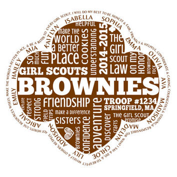 Personalized Brownies Girl Scouts Word Art with Names