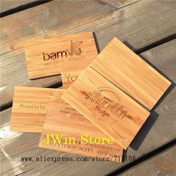 Engraving Wooden Business Card  Handicraft Bamboo Name Card Fashion Sculpture Card For Commercial Male Women  100pcs/lot