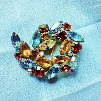 WEISS Signed Brooch Pin Vintage Amber Fall Autumn Color Crystal Cabochons Rondelles Mad Men Gold Back fm Estate Designer Costume Jewelry