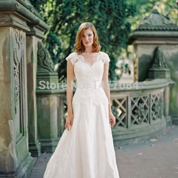 Hot Sale V Neck Cap Sleeves Ivory Lace Wedding Gowns Long Taffeta Bow Back Bridal Dresses 2014 New Arrival