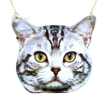 Grey Striped Tabby Kitty Cat Head Shaped Vinyl Animal Themed Cross Shoulder Bag | DOTOLY