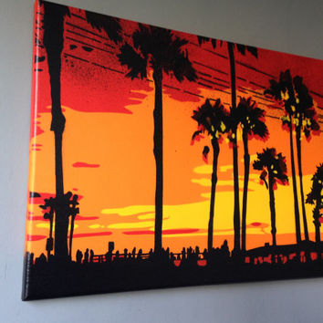 Sunset in Los Angeles stencil art painting,canvas,spray paint art,America, California,pop art,red,yellow,orange,beach,palm trees,landscape