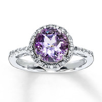 Pink Amethyst Ring Round-Cut with Diamonds Sterling Silver