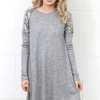 Sequin Shoulders Hacci Sweater Dress {Grey}