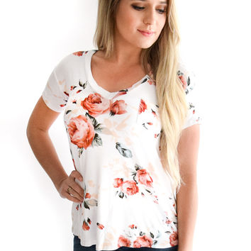 Evening Rose Top In White