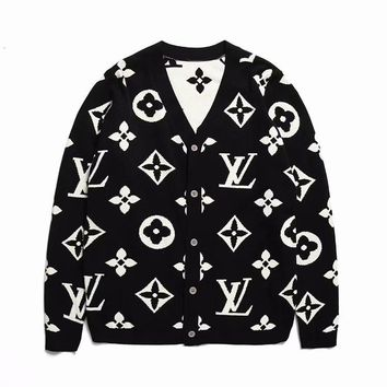 LV Women Men Button Monogram Cardigan Coat Knot Shirt High Quality Black