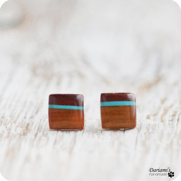 Post earrings - brown squares stud earrings - handmade jewelry