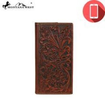 Genuine Tooled Leather Collection Phone Charging Men's Wallet (4 colors available)