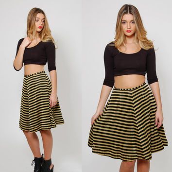 Vintage 80s STRIPED Mini Skirt Gold & Black METALLIC Mini Skirt Glam Flare Skater Skirt CHEVRON Stripe Skirt