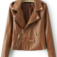 Coffee Colored Faux Leather Zip Up Crop Jacket