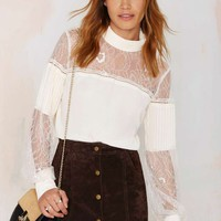 Nasty Gal Lace to the Finish Blouse