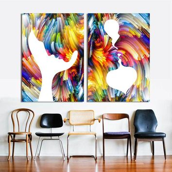 Wangart Colorful Abstract Posters And Prints Wall Art Canvas Oil Painting Wall Pictures For Living Room Home Decoration No Frame
