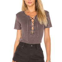 Chaser Vintage Rib Lace Up Tee in Blackberry | REVOLVE