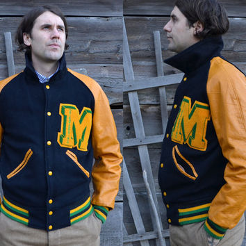Vintage 1960's Yellow Leather & Navy Blue Wool Letterman's Sport Jacket