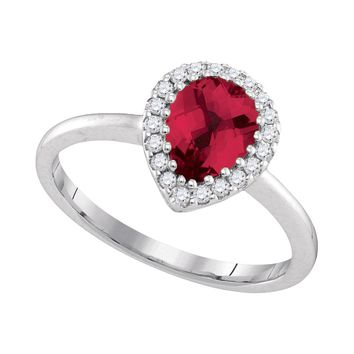 14kt White Gold Womens Pear Natural Ruby Solitaire Diamond Halo Bridal Ring 1/6 Cttw