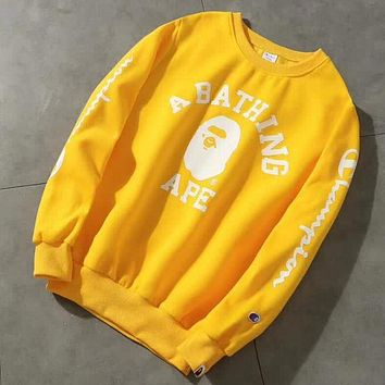 Champion X Bape Aape Fashion Print Logo Round Collar Sport Top Sweater Casual Sweatshirt Yellow