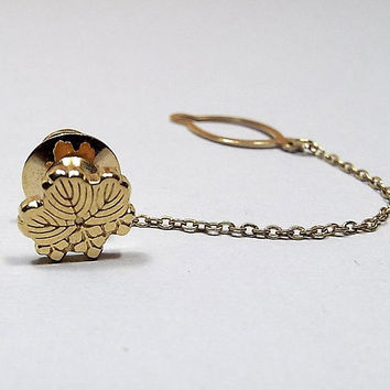 Leaf Tie Tack, Vintage Tie Tack, Gold Plated with Button Chain, Fall Mens Formal Jewelry, Retro 1980s 80s