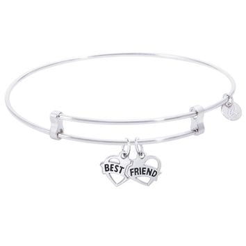 Sterling Silver Confident Bangle Bracelet With Best Friends Charm