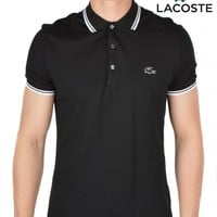 LACOSTECONTRAST PIPING POLO SHIRT - BLACK