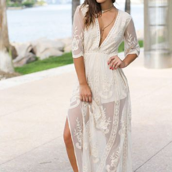 Natural Lace Maxi Romper