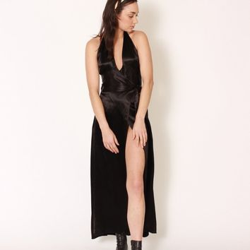 1940s Black Silky Wrap Halter Dress / S