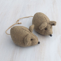 Wool mouse, stuffed mouse, fabric, textile, lavender, brown beige, handmade, soft animal